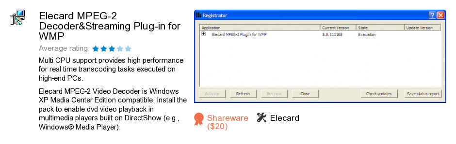Elecard MPEG-2 Decoder&Streaming Plug-in for WMP