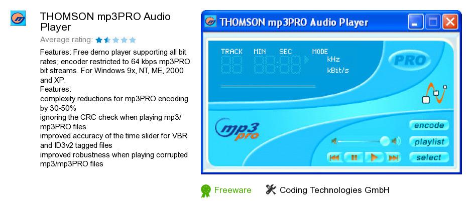 THOMSON mp3PRO Audio Player