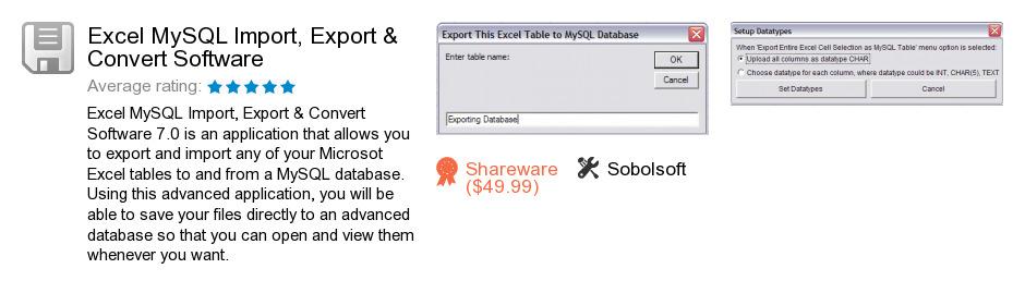 Excel MySQL Import, Export & Convert Software