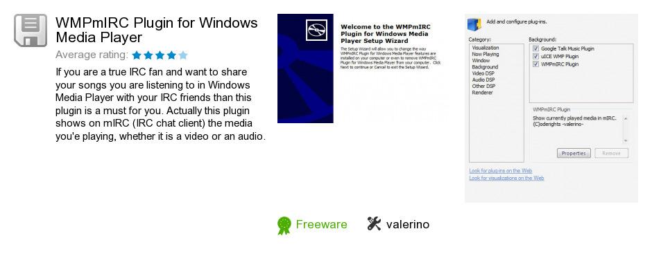 WMPmIRC Plugin for Windows Media Player
