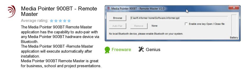 Media Pointer 900BT - Remote Master