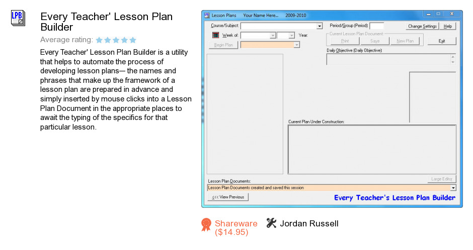 Every Teacher's Lesson Plan Builder