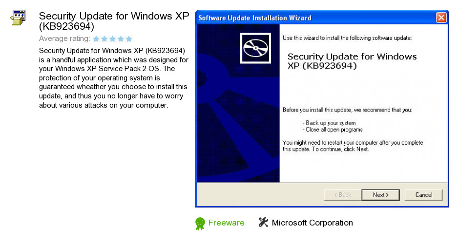Security Update for Windows XP (KB923694)