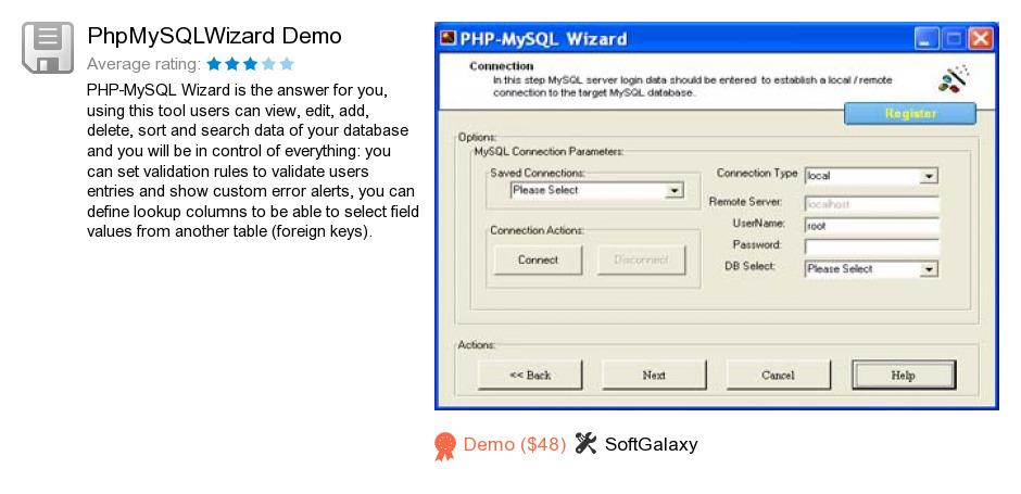 PhpMySQLWizard Demo