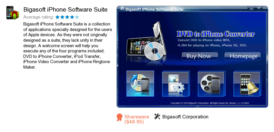 Bigasoft iPhone Software Suite