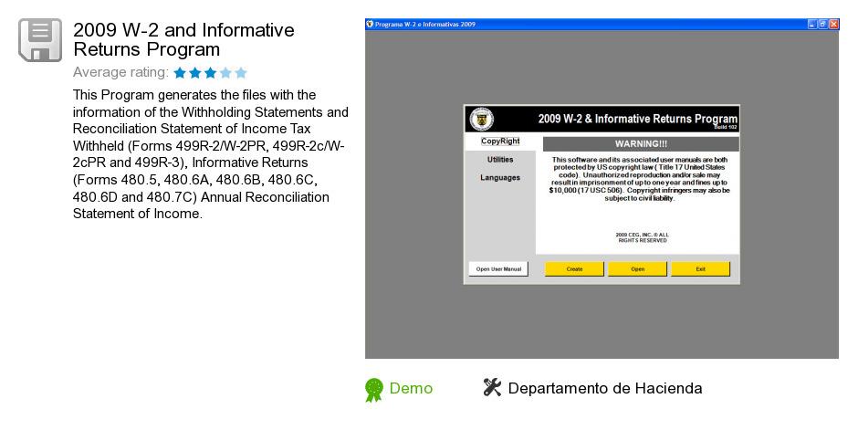 2009 W-2 and Informative Returns Program