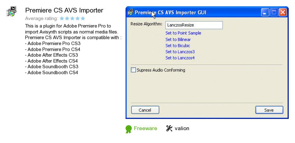 Premiere CS AVS Importer