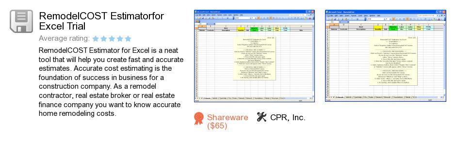 RemodelCOST Estimatorfor Excel Trial