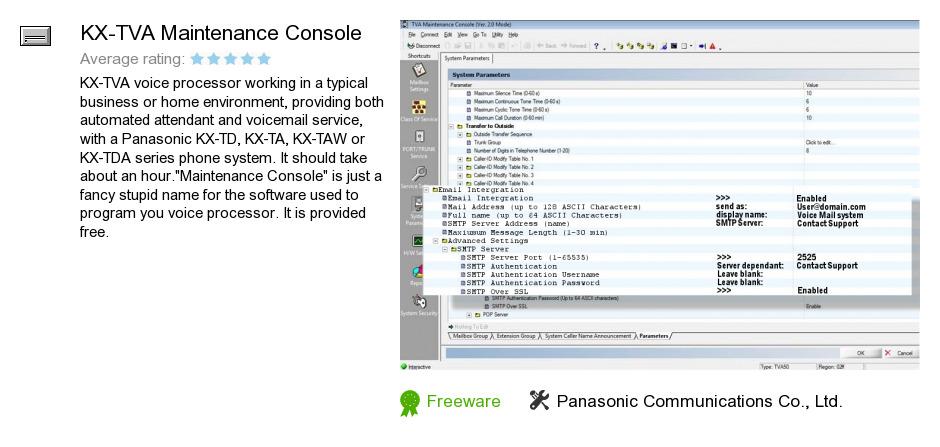 KX-TVA Maintenance Console