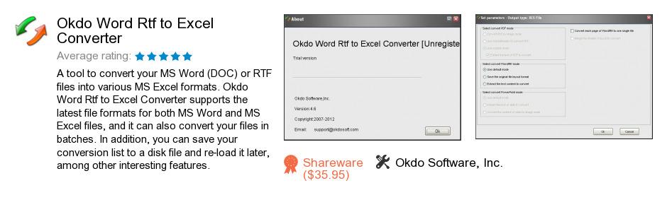 Okdo Word Rtf to Excel Converter