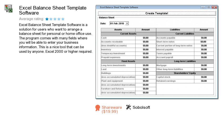 Excel Balance Sheet Template Software