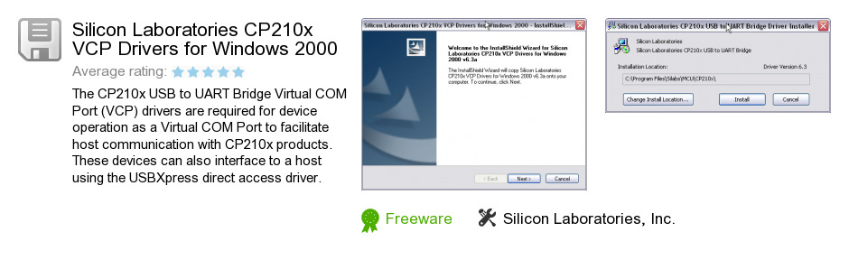 Silicon Laboratories CP210x VCP Drivers for Windows 2000