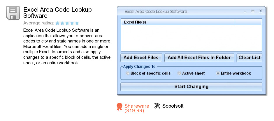 Excel Area Code Lookup Software