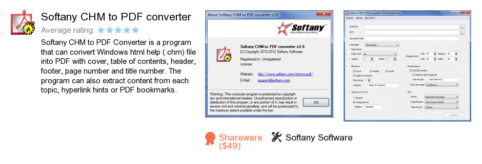 Softany CHM to PDF converter