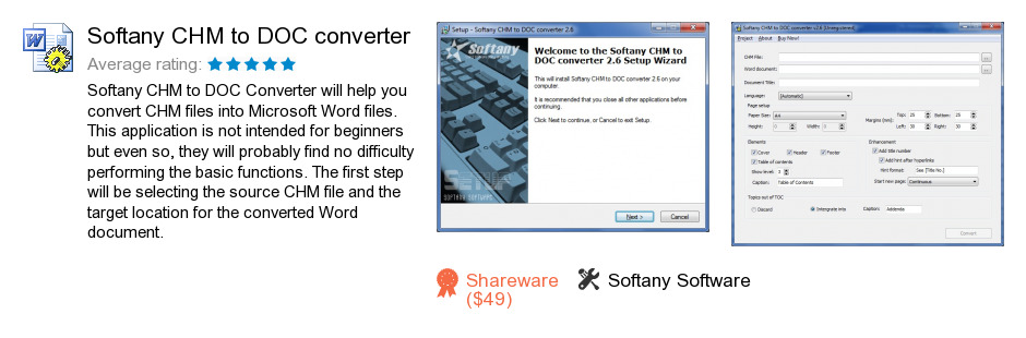 Softany CHM to DOC converter