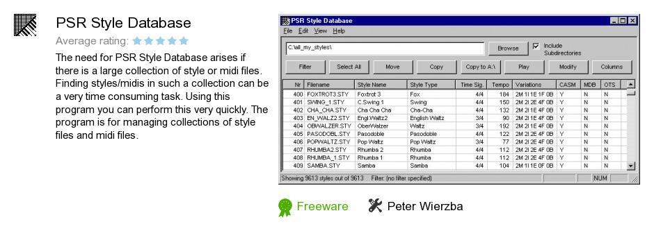PSR Style Database