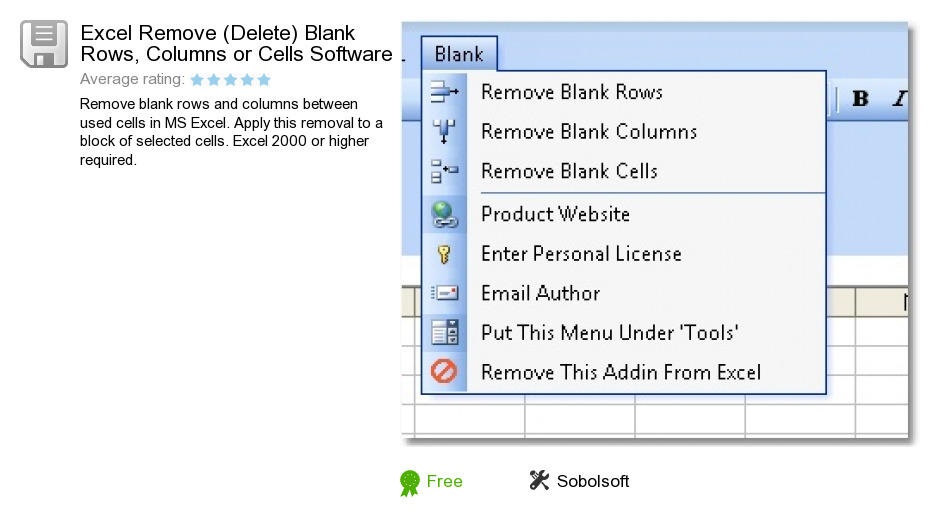 Excel Remove (Delete) Blank Rows, Columns or Cells Software