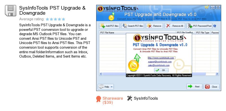 SysInfoTools PST Upgrade & Downgrade