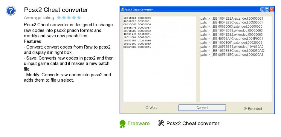 Pcsx2 Cheat converter