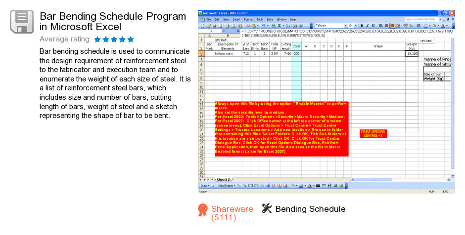 Bar Bending Schedule Program in Microsoft Excel