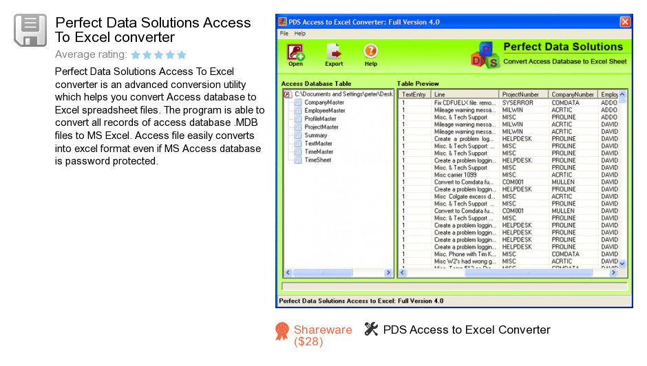 Perfect Data Solutions Access To Excel converter