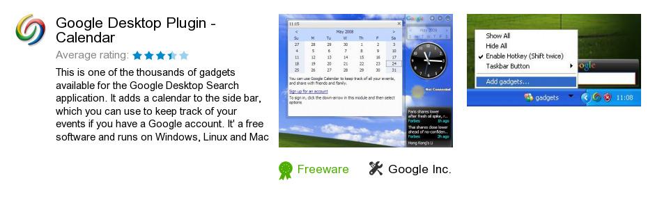 Google Desktop Plugin - Calendar