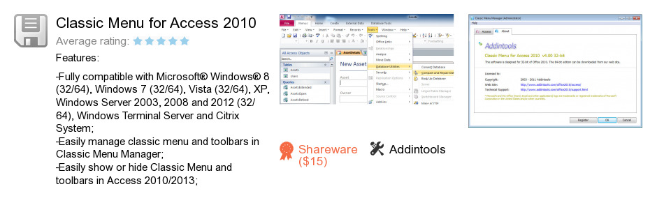 Classic Menu for Access 2010