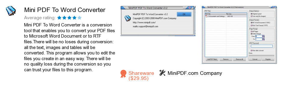 Mini PDF To Word Converter