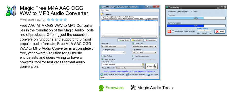 Magic Free M4A AAC OGG WAV to MP3 Audio Converter