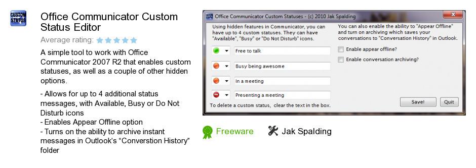 Office Communicator Custom Status Editor