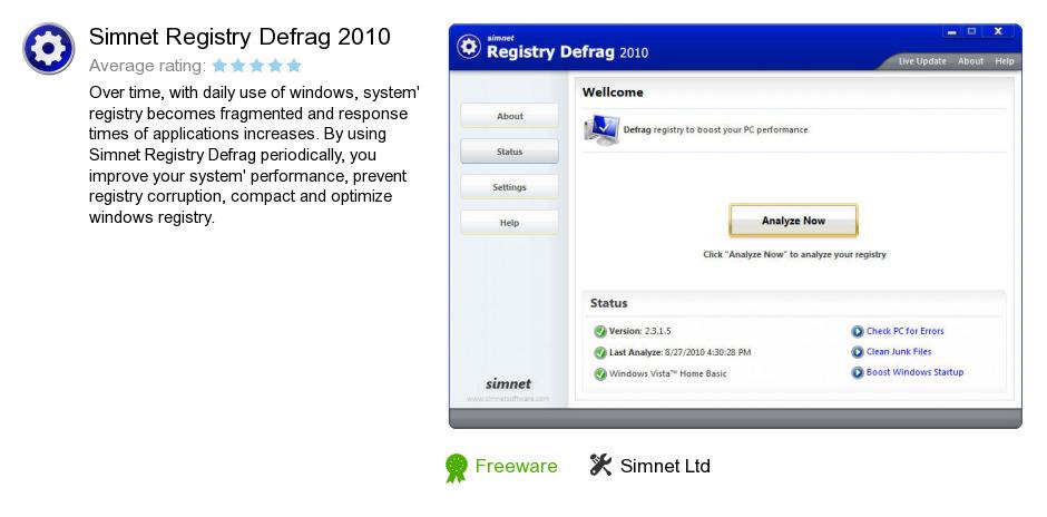 Simnet Registry Defrag 2010