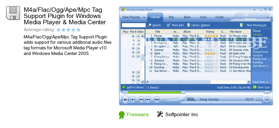 M4a/Flac/Ogg/Ape/Mpc Tag Support Plugin for Windows Media Player & Media Center