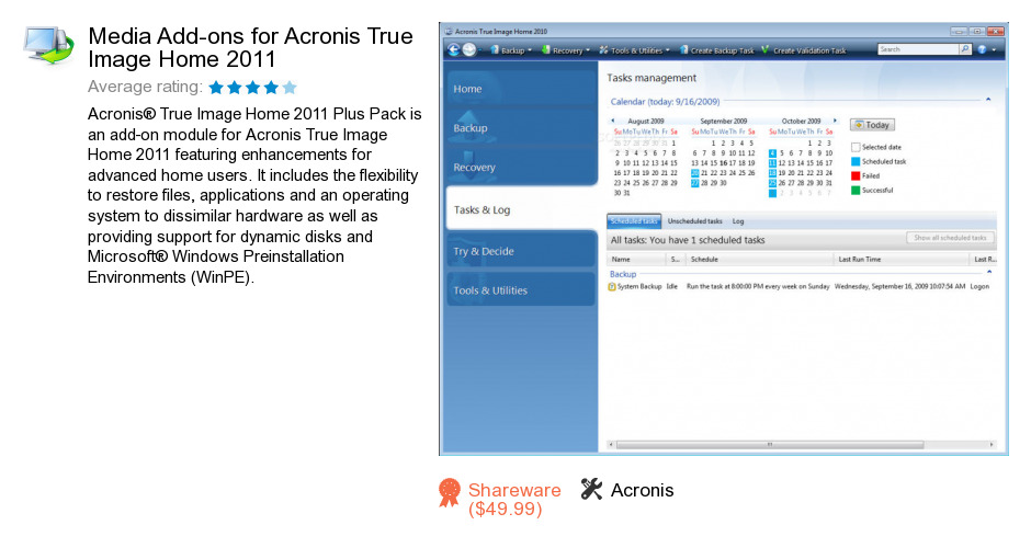 Media Add-ons for Acronis True Image Home 2011