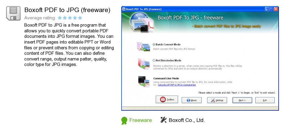 Boxoft PDF to JPG (freeware)