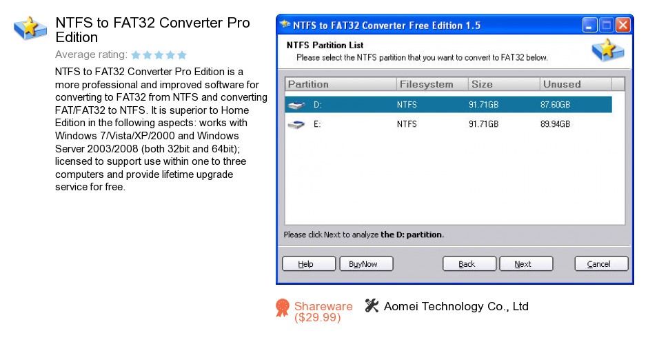 NTFS to FAT32 Converter Pro Edition