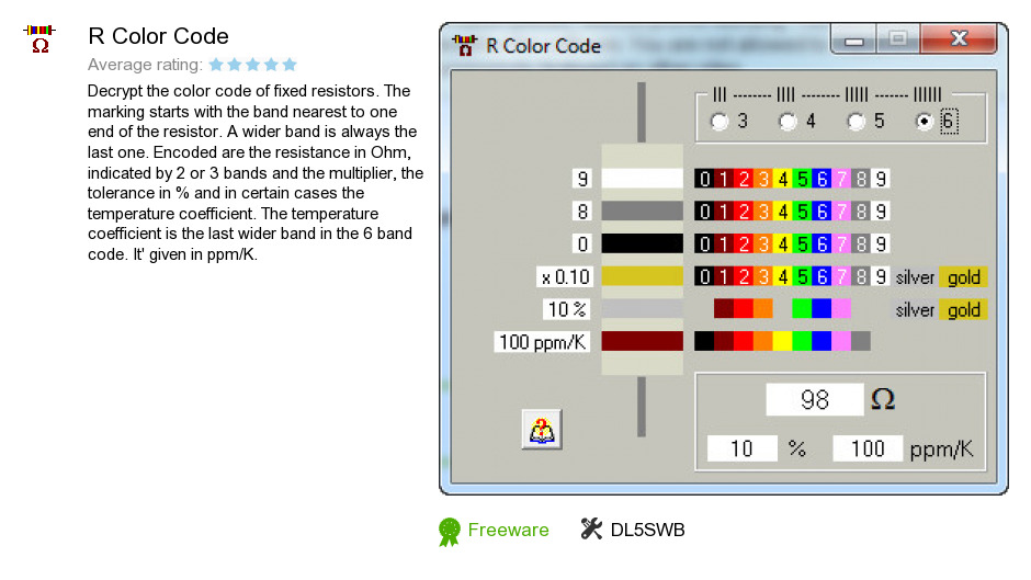 review r color code is a program developed by dl5swb we know of