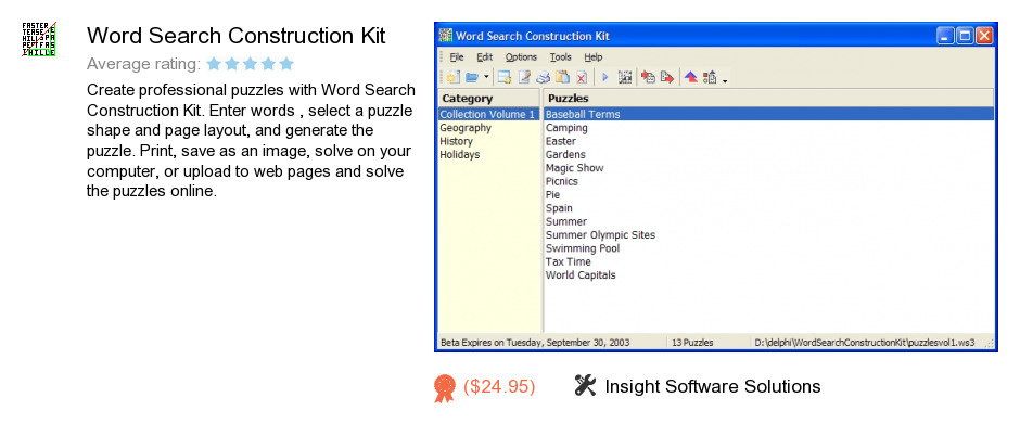 Word Search Construction Kit