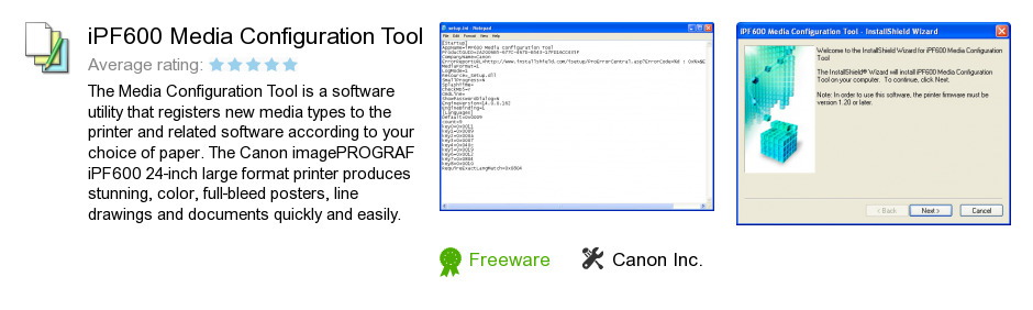 IPF600 Media Configuration Tool