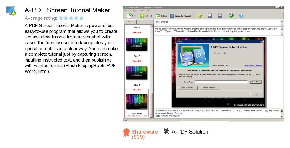 A-PDF Screen Tutorial Maker