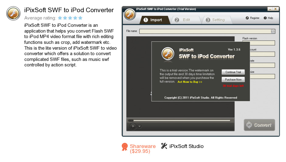 IPixSoft SWF to iPod Converter