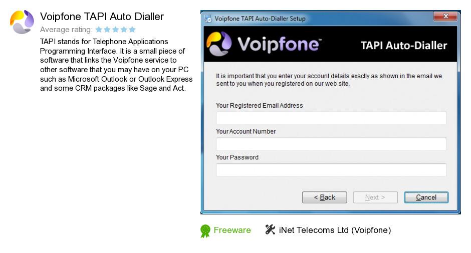 Voipfone TAPI Auto Dialler