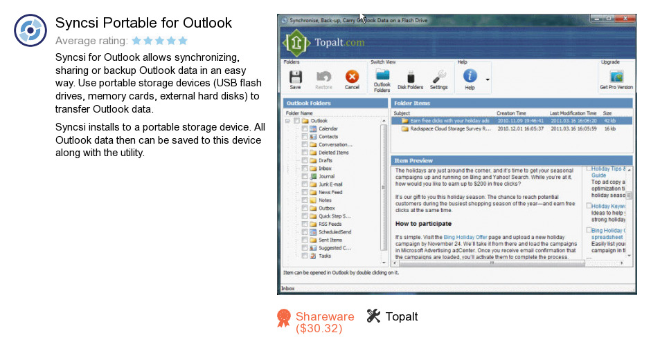 Syncsi Portable for Outlook