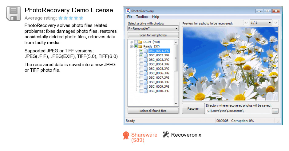PhotoRecovery Demo License