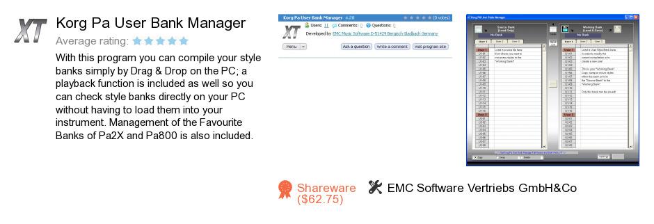 Korg Pa User Bank Manager