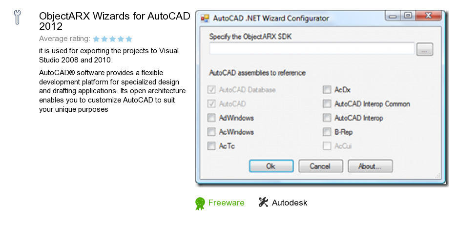 ObjectARX Wizards for AutoCAD 2012