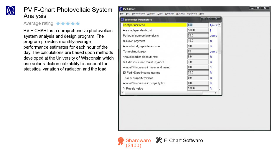PV F-Chart Photovoltaic System Analysis