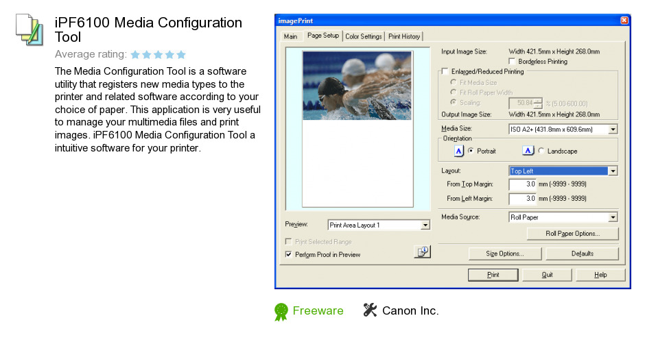 IPF6100 Media Configuration Tool
