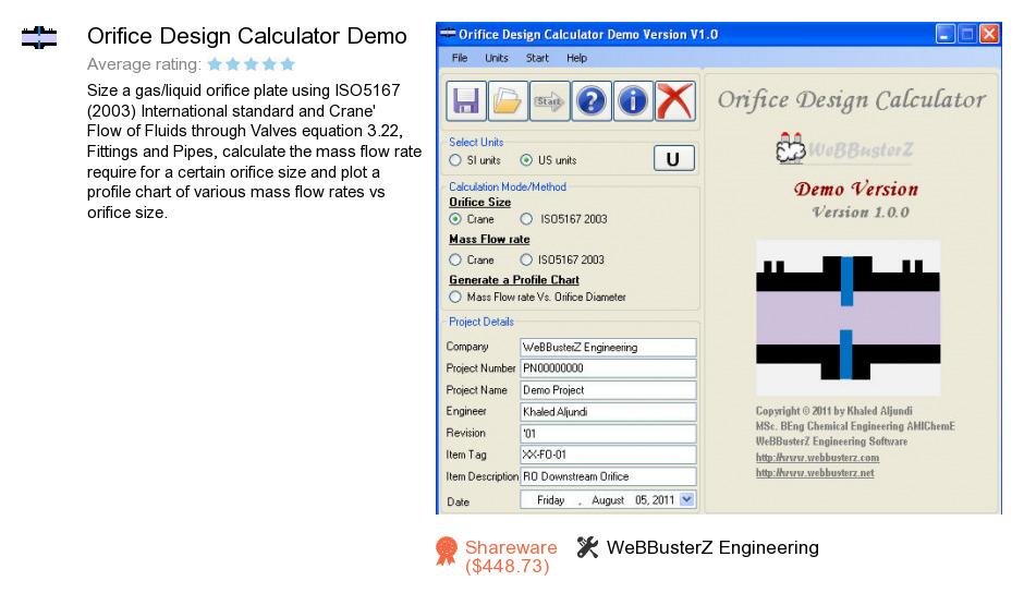 Orifice plate flow rate calculator