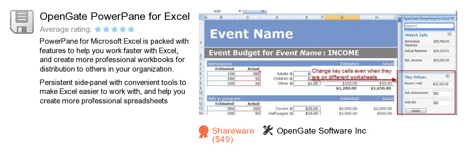 OpenGate PowerPane for Excel