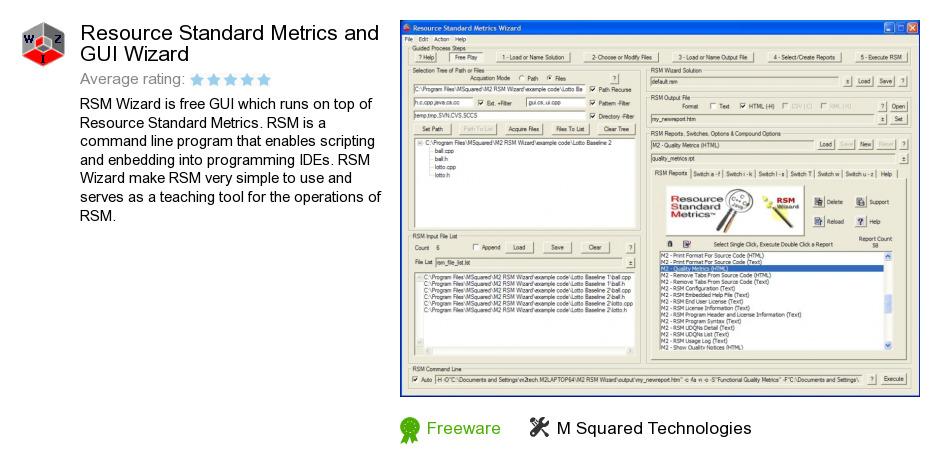 Resource Standard Metrics and GUI Wizard